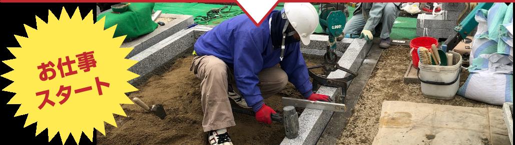 西日本石材職人さんの会:お仕事までの流れ お仕事スタート
